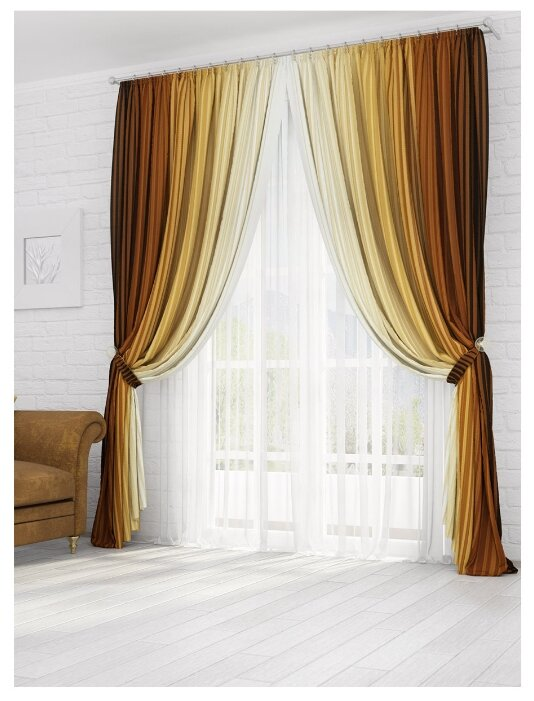 Комплект штор Параскева 270х150см коричневый