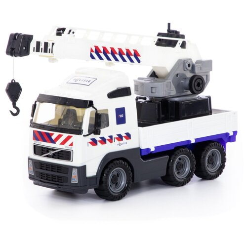Купить Автокран Полесье полицейский Volvo (77318) 49 см белый, Машинки и техника