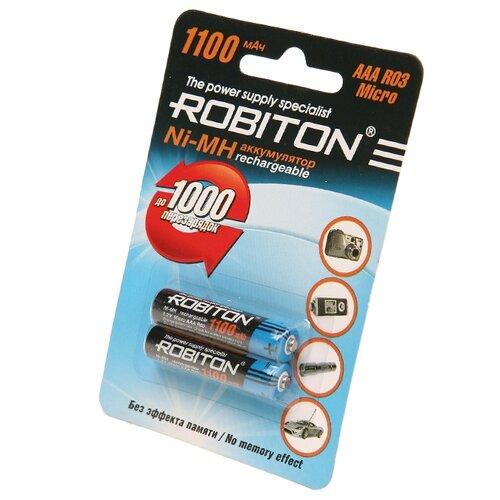 Аккумулятор Ni-Mh 1100 мА·ч ROBITON AAA R03 Micro 1100 2 шт блистер аккумулятор ni mh 2700 ма·ч эра c0038458 2 шт блистер