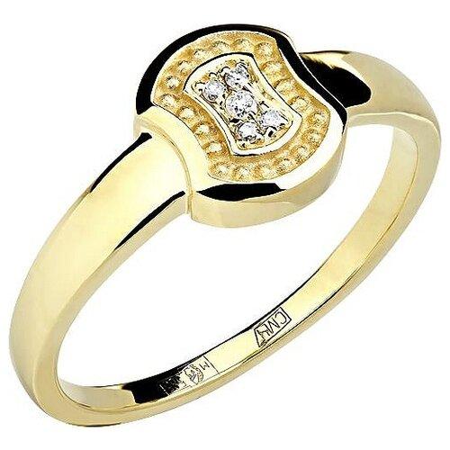 Эстет Кольцо с 5 бриллиантами из жёлтого золота 01К638750, размер 17.5