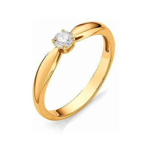 АЛЬКОР Кольцо с бриллиантом из красного золота 12065-100, размер 18