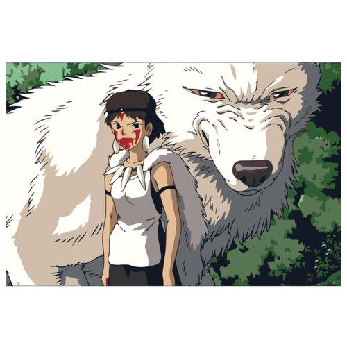 Девочка и белый волк Раскраска картина по номерам на холсте