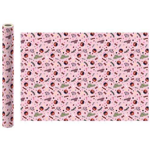 Бумага упаковочная ND Play Леди Баг и Супер-Кот №1 100х70 см 2 шт розовый