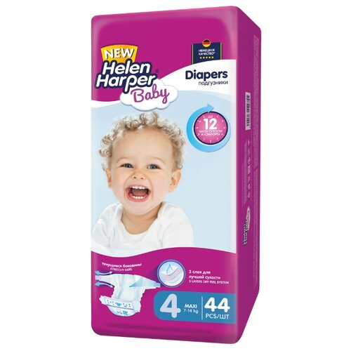 Helen Harper подгузники Baby 4 (7-14 кг) 44 шт. подгузники helen harper baby размер 4 maxi 7 14 кг 62 шт 5411416 029731