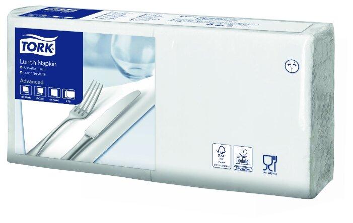 Салфетки бумажные 24x24см, 2-слойные Tork Advanced, белые, 200шт. (10130-40)
