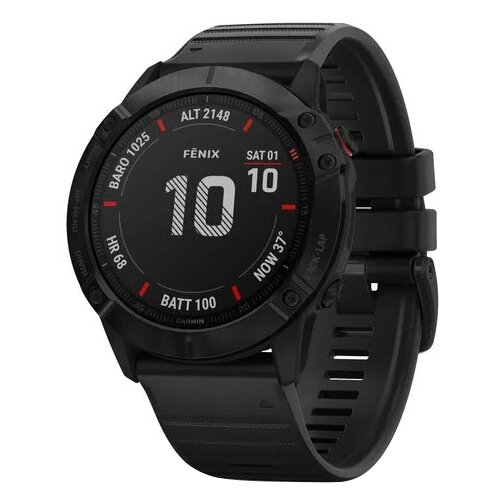 Умные часы Garmin Fenix 6X Pro, черный умные часы garmin fenix 6x pro solar титановый с титановым браслетом серый