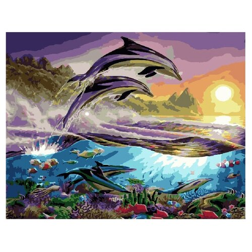 Купить ВанГогВоМне Картина по номерам Дельфины , 40х50 (ZX 10001), Картины по номерам и контурам