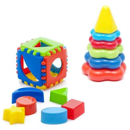 Купить Набор развивающий Игрушка Кубик логический малый 40-0011 + Пирамида детская малая 40-0046, Karolina toys, Сортеры