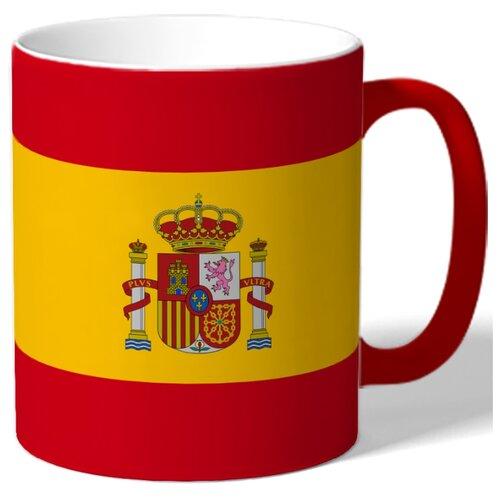 Кружка с цветной ручкой и внутренней поверхностью Испанский флаг