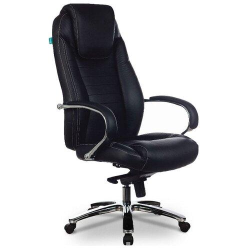 Компьютерное кресло Бюрократ T-9923SL для руководителя, обивка: натуральная кожа, цвет: черный компьютерное кресло бюрократ t 9927walnut low для руководителя обивка натуральная кожа цвет черный
