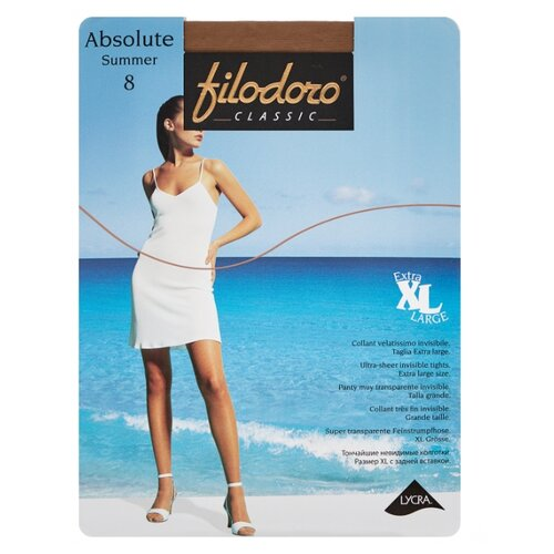 Колготки Filodoro Classic Absolute Summer XL 8 den, размер 5-XL, glace (коричневый) колготки filodoro classic dora 20 den размер 5 xl glace коричневый
