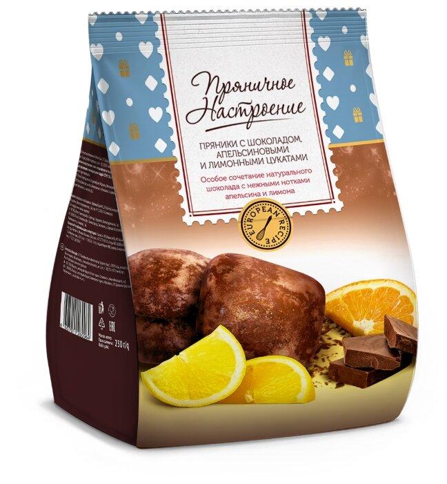 Фигурный пряник Пряничное настроение с шоколадом ,апельсиновыми и лимонными цукатами 230 г