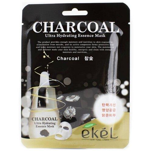 цена на Ekel Маска тканевая с экстрактом древесного угля Charcoal Ultra Hydrating Essence Pack, 25 мл,
