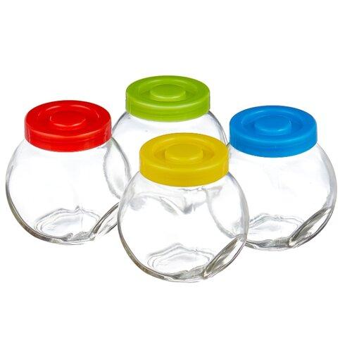 Фото - Mallony Набор банок VASO 003606 синий/красный/желтый/зеленый набор посуды тигрес ромашка 39121 красный желтый зеленый синий