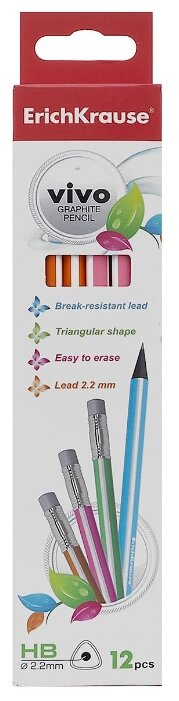 ErichKrause Набор чернографитных трехгранных карандашей с ластиком Vivo HB 12 шт (32949)