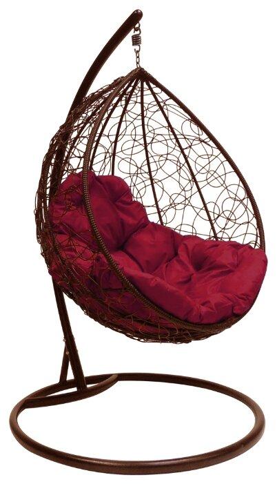 """Купить Коричневое подвесное кресло """"капля ротанг"""", с бордовой подушкой по низкой цене с доставкой из Яндекс.Маркета"""