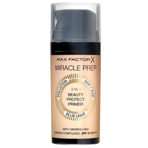 Max Factor Праймер Miracle Prep 3 in 1 Beauty Protect SPF30 PA+++ 30 мл 1 основа под макияж max factor miracle prep colour correcting cooling тон green 30 мл