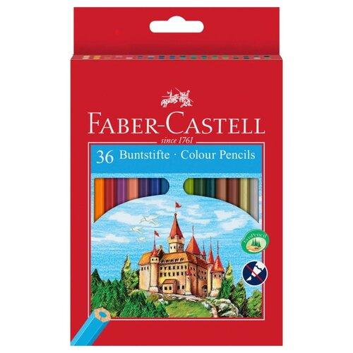 Faber-Castell Карандаши цветные Замок с точилкой 36 цветов (120136) faber castell цветные карандаши jumbo triangular с точилкой 12 цветов 116501