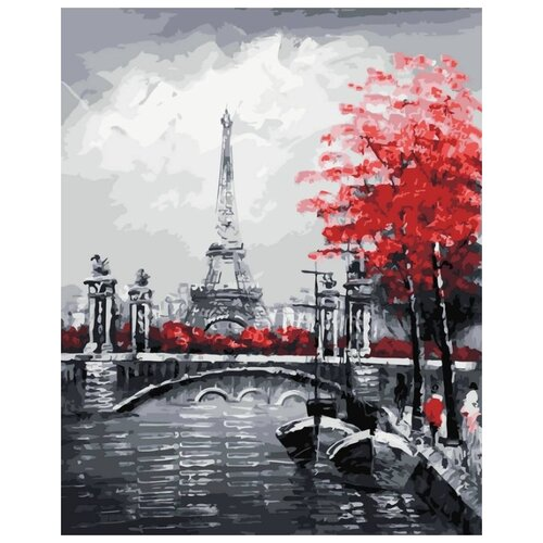 Картина по номерам Канал на фоне Эйфелевой башни, 40x50 см картина постер в раме postermarket эйфелевой башни 27х32см