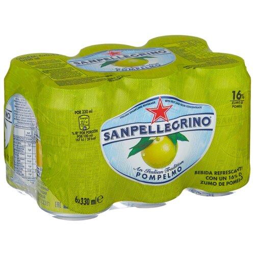 Газированный напиток Sanpellegrino Pompelmo Грейпфрут, 0.33 л, 6 шт.