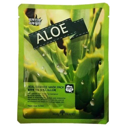 MAY ISLAND тканевая маска Real Essence Aloe с экстрактом алоэ, 25 мл одноразовая увлажняющая маска с экстрактом алоэ 21 мл tony moly i am real