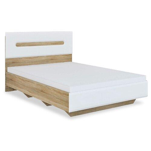 Кровать Мебель-Неман Леонардо полутораспальная, размер (ДхШ): 203х146 см, спальное место (ДхШ): 200х140 см, каркас: МДФ, цвет: белый/дуб светлый