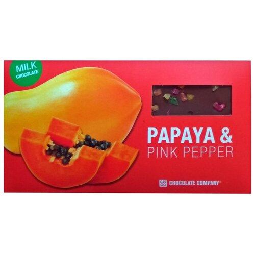 Шоколад CHCO Два вкуса Папайя и розовый перец, молочный, 100 г chco chocbar xl de luxe milk 40% молочный шоколад с клубникой 300 г