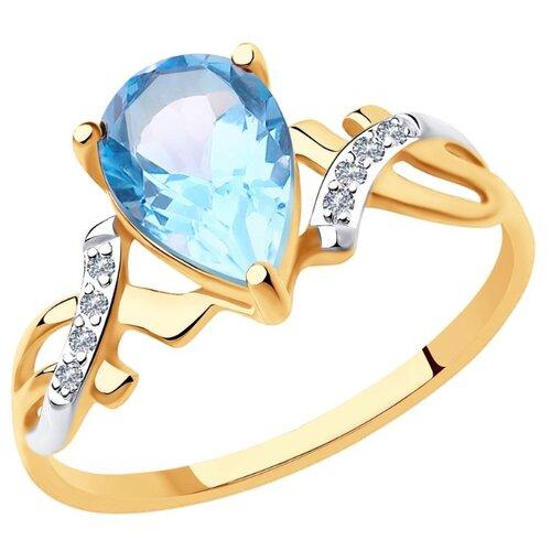 Diamant Кольцо из золота с топазом и фианитами 51-310-00735-2, размер 17 diamant кольцо из золота с топазом и фианитами 51 310 00292 1 размер 18