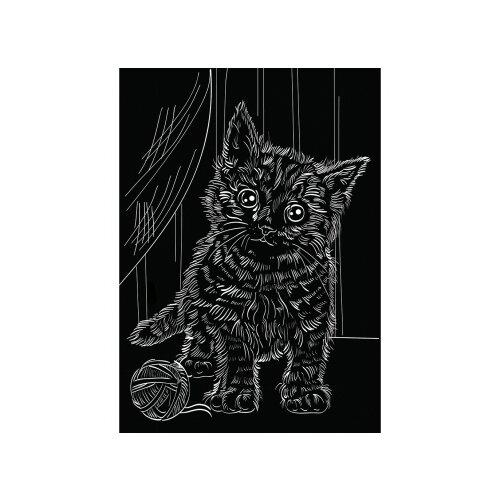 Купить Гравюра Рыжий кот Игривый котенок, в пакете с ручкой (Г-9419) золотистая основа, Гравюры