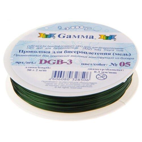 Купить Проволока для бисера Gamma , металл (цвет: зеленый), арт. DGB-3 05, 0, 3 мм x 50±2 м, Фурнитура для украшений