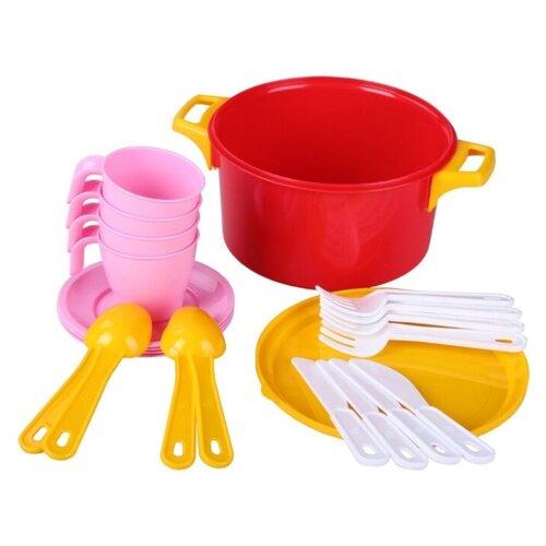 Купить Набор посуды Альтернатива A-16295 красный/желтый/белый/розовый, Игрушечная еда и посуда