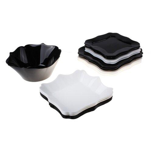 Столовый сервиз Luminarc Authentic black & white Е6195, 6 персон черный/белый