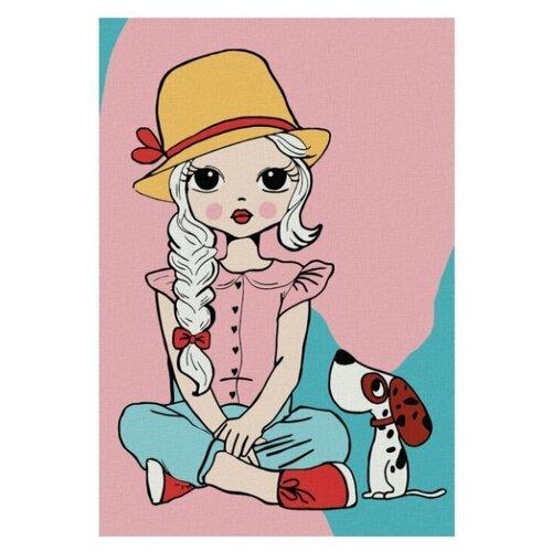 Купить Котеин Картина по номерам Девочка с собакой 20х30 см (KHM0024), Картины по номерам и контурам