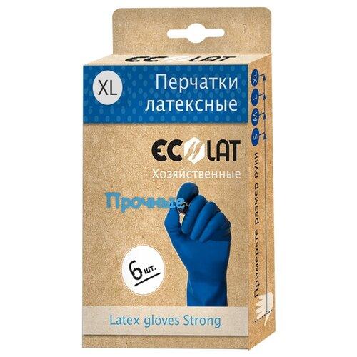 Перчатки Ecolat хозяйственные прочные, 3 пары, размер XL, цвет синий