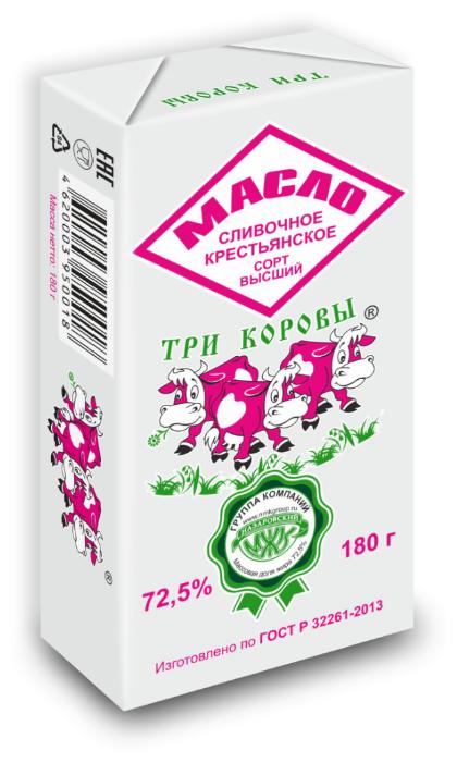 Три коровы Масло сливочное Крестьянское 72.5%, 180 г