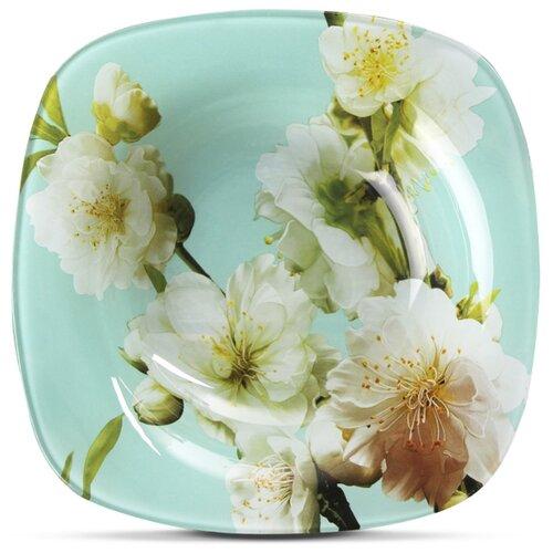 Доляна Тарелка суповая Весенний вальс 20 см белый/голубой