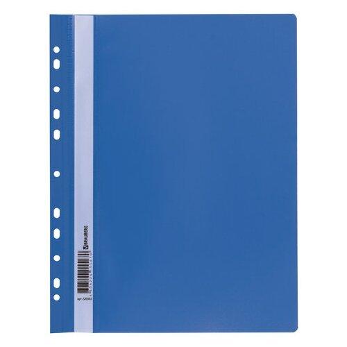 BRAUBERG Папка-скоросшиватель с перфорацией А4, пластик синий папка на 2 х кольцах galaxy а4 салатовая