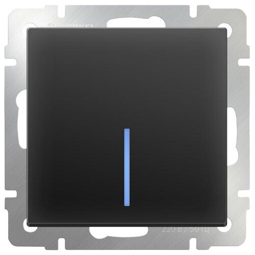 Выключатель 1-полюсный Werkel WL08-SW-1G-2W-LED,10А, черный выключатель 1 полюсный werkel wl06 sw 1g 2w led 10а серебристый