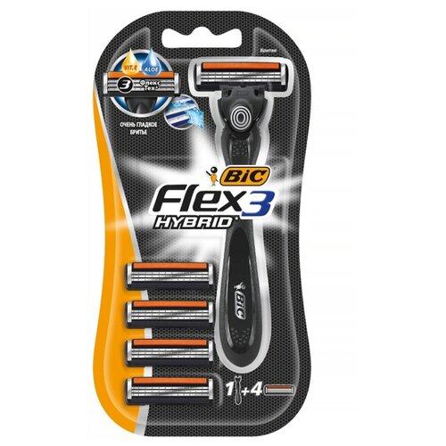 Купить Бритвенный станок Bic Flex 3 Hybrid, сменные кассеты 4 шт.