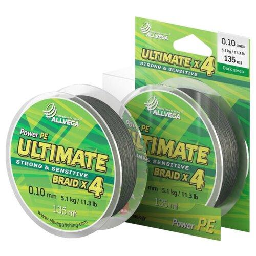 Плетеный шнур ALLVEGA ULTIMATE dark green 0.1 мм 135 м 5.1 кг