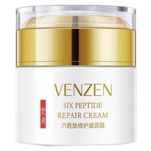 Venzen Six Peptide Repair Cream Омолаживающий ночной крем для лица с гексапептидом, 50 мл fitness model лифтинг крем для лица роскошный омолаживающий с бриллиантовой пудрой 45 мл
