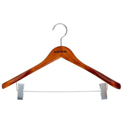 Вешалка Attribute Для верхней одежды с клипсами Status коричневый