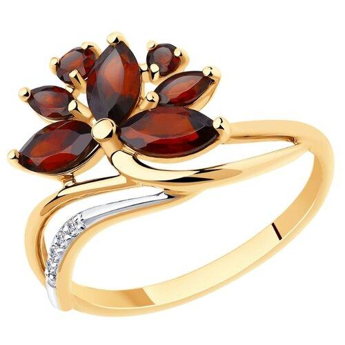 Diamant Кольцо из золота с гранатами и фианитами 51-310-00806-1, размер 17.5