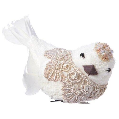 Елочная игрушка Игрушка ПТИЧКА-КРУЖЕВНИЧКА, белая, 10 см, Kaemingk 455616 недорого