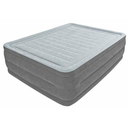 Надувная кровать Intex Comfort-Plush (64418) светло-темно-серый intex кровать comfort plush 99х191х46 см со встроенным насосом 220в