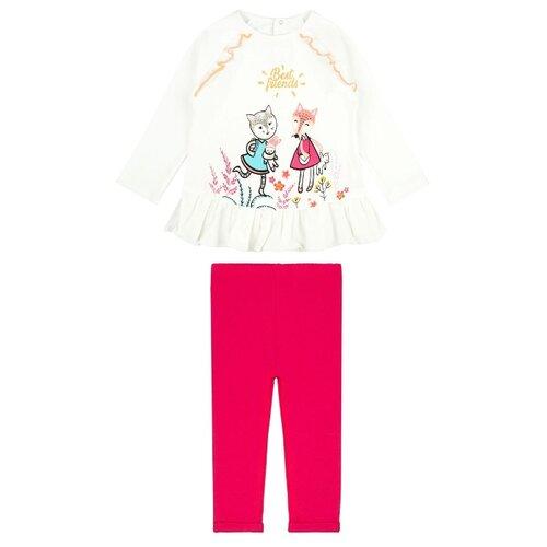 Комплект одежды Pixo размер 80, белый/розовый