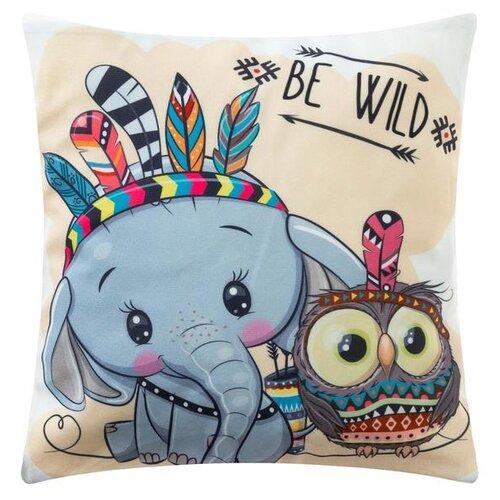 Наволочка декоративная Крошка Я Be wild, 40*40 см подушка декоративная крошка я буква ш 35 х 22 см синий