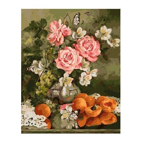 Купить ВанГогВоМне Картина по номерам Розы и абрикосы , 40х50 см (ZX 22127), Картины по номерам и контурам