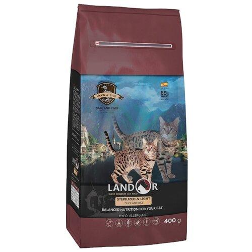 Корм для кошек Landor профилактика избыточного веса, с уткой 400 г корм для кошек landor тунец