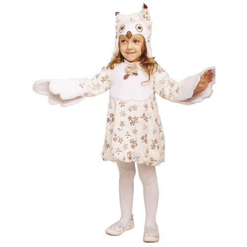 Костюм пуговка Сова Нюша (946 к-19), белый/бежевый, размер 104, Карнавальные костюмы  - купить со скидкой